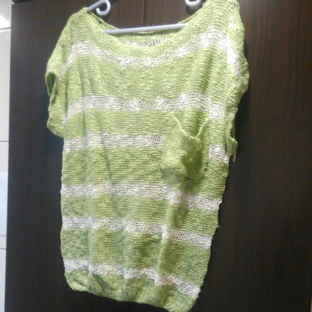 氣質針織罩衫-綠白條紋