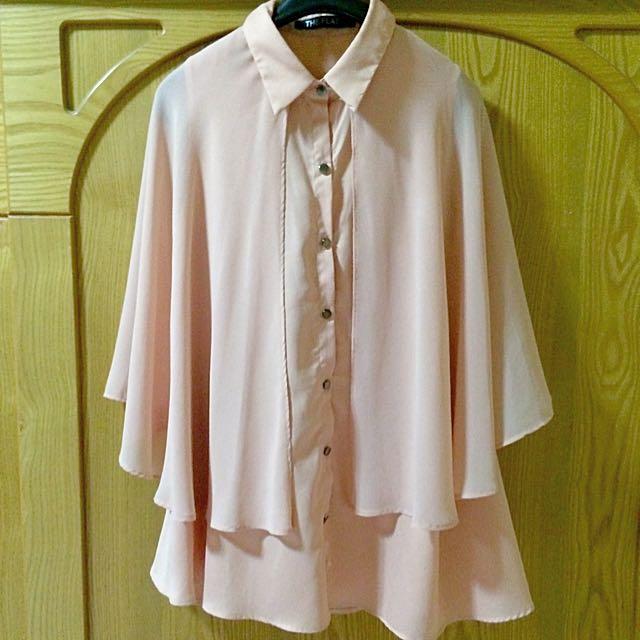 正韓粉色雪紡造型襯衫