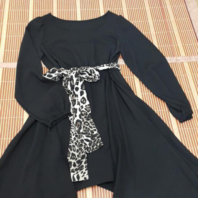 【出清】黑色顯瘦雪坊洋裝