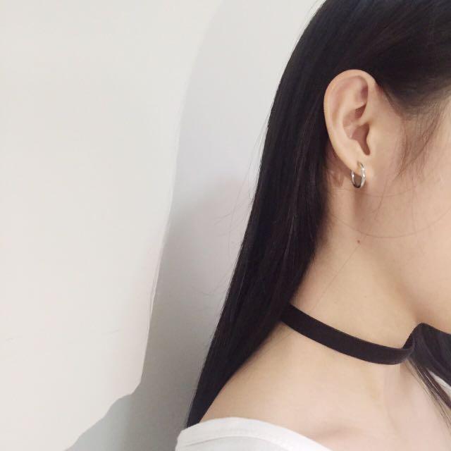 全新素面絨布頸鍊+銀色圓圈耳環