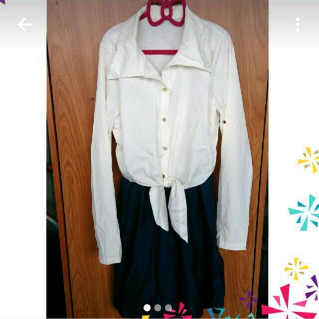 韓版雙色高腰綁帶小洋裝