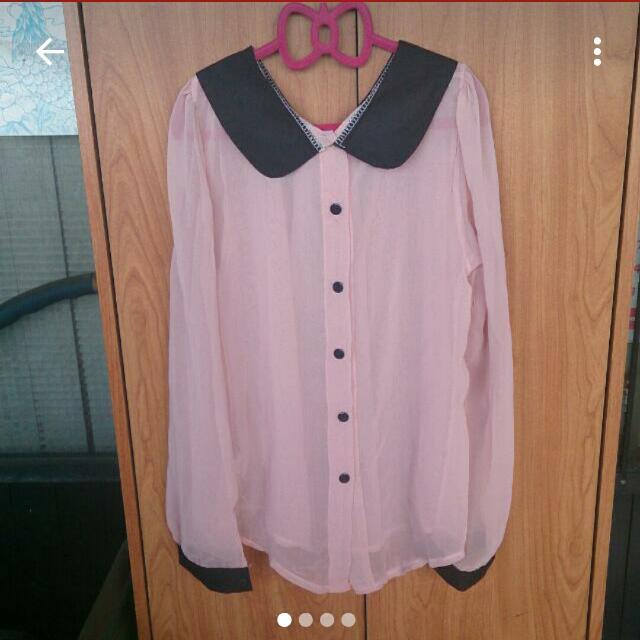 粉色雙面雪紡襯衫式上衣