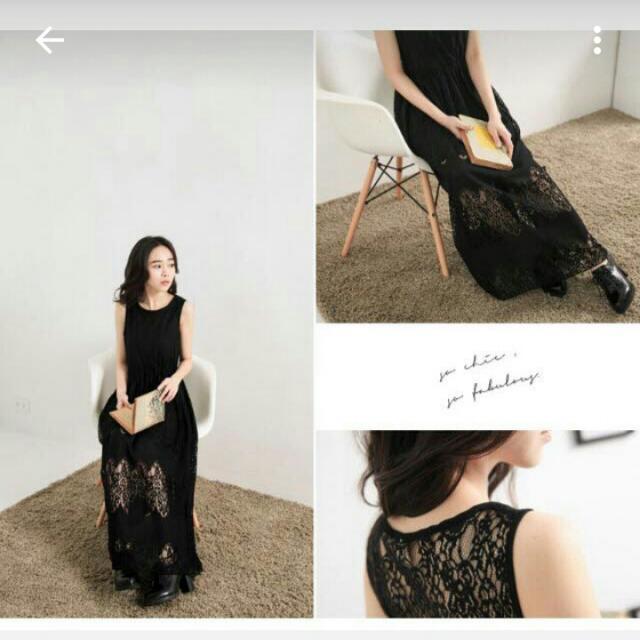 美 黑蕾絲下擺長裙洋裝