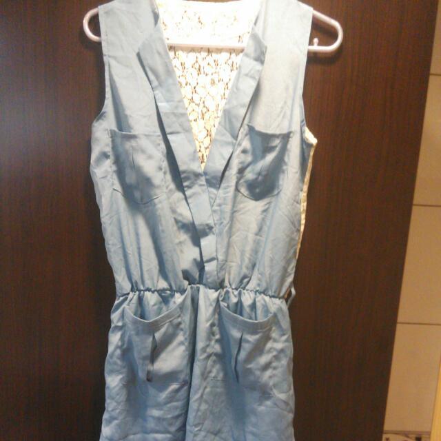 雙口袋 雪紡連身裙-水藍
