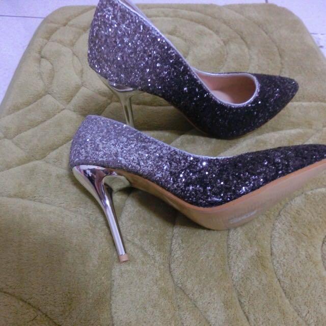 閃亮✨銀白婚鞋 高跟鞋