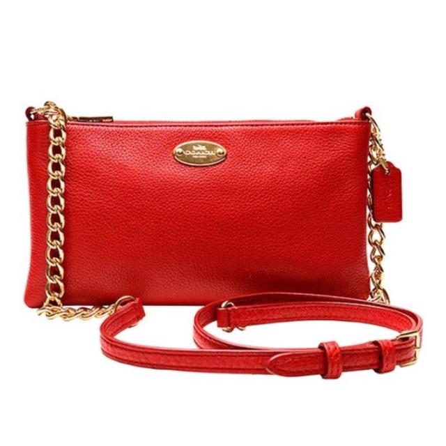 美國代購★ Coach Pebble Leather 皮革金鏈斜背包 (紅色)