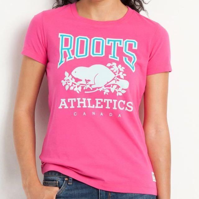 (新品出售) 加拿大ROOTS 經典海貍圖騰RBA短袖T恤 - 粉紅