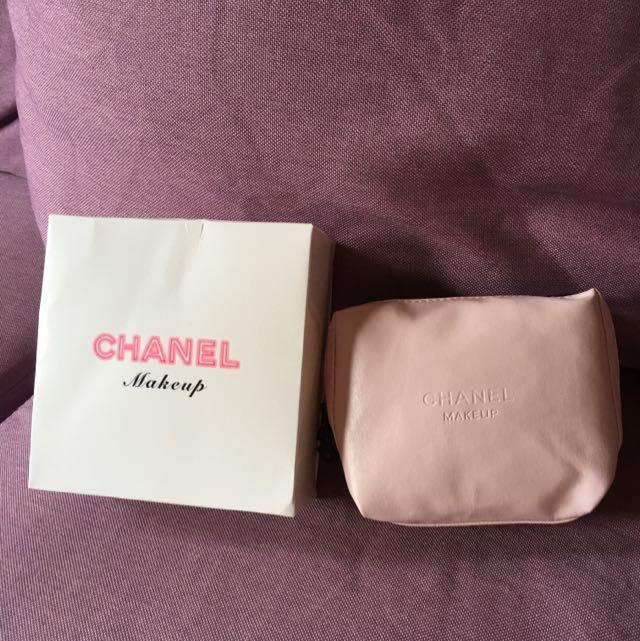 全新粉色chanel化妝包