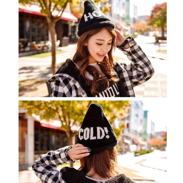 韓國秋冬(雙層)字母COLD!HOT尖頂捲邊可愛三角型針織毛線帽