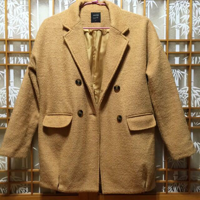 Lovfee 溫暖駝色繭型羊毛大衣外套