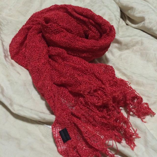 moussy紅圍巾