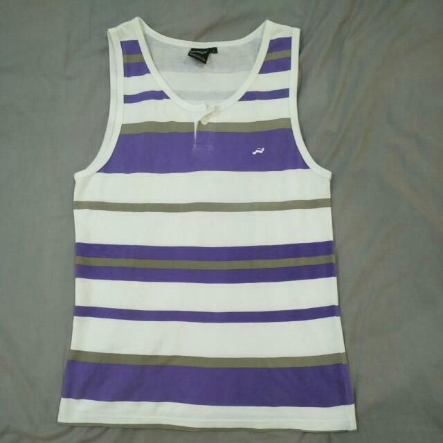 purple white striped tank top singlet with button size S