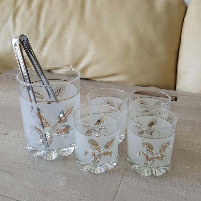 Scotch Glasses And Ice Jar