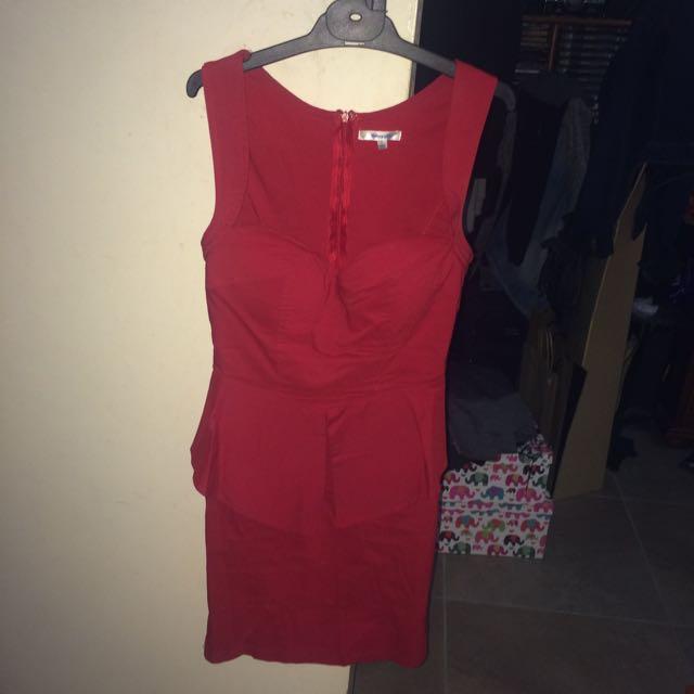Tight Fitting Red Peplum Dress