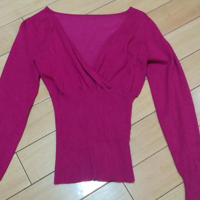 針織V領上衣/桃色