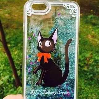 現貨 黑貓 卡通液體流沙 APPLE iphone6 6S plus 5.5寸外殼