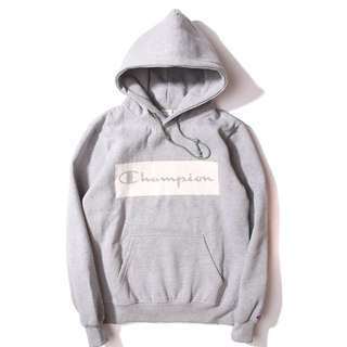 Champion 厚棉帽T-灰白色 現貨L
