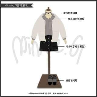 【Minnie. G-用插畫來穿搭】復古燈芯絨長袖前短後長鈕扣襯衫-卡其灰 外搭內穿皆可 襯衫小外套