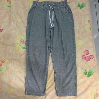 水洗色條紋褲