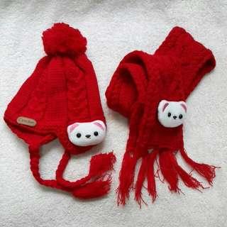 熊熊毛帽圍巾組