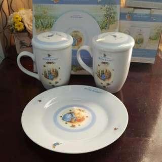 彼得兔午茶對杯點心盤組