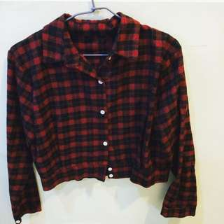 蘇格蘭短版紅襯衫