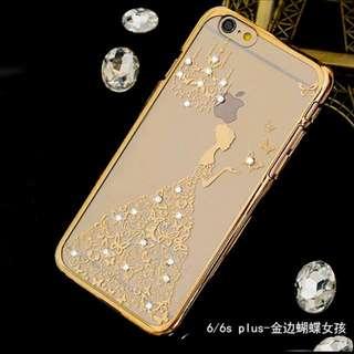 IPhone 奢華金邊鑲鑽硬殼