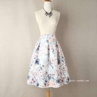 Pastel Flora Midi Skirt
