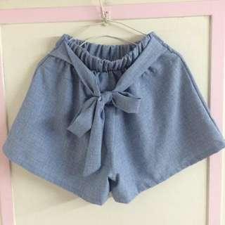 藍色格紋蝴蝶結綁帶高腰短褲