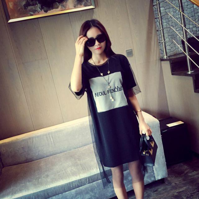 2015夏季新款寬鬆顯瘦中長款短袖連衣裙