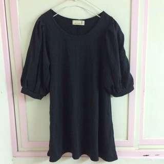 正韓製黑色質感五分袖棉質黑色長版洋裝上衣