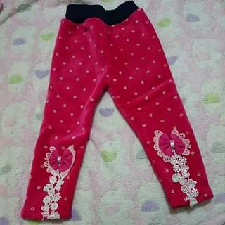 全新寶寶8號雕花朵結不倒絨內搭褲