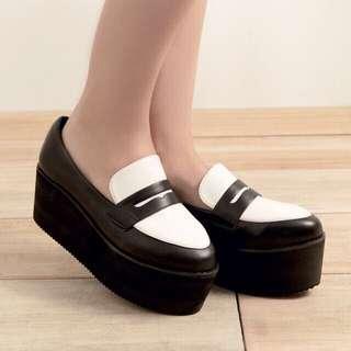 Meier Q-復古學院黑白配色厚底鞋#旋轉小天使