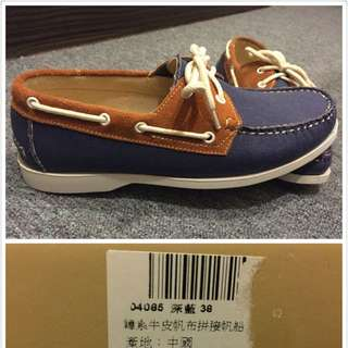 韓系牛皮帆布拼接帆船鞋(現台灣500免運費)