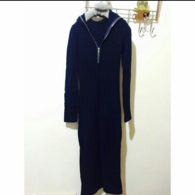 深藍色針織拉鏈羅紋連帽長裙洋