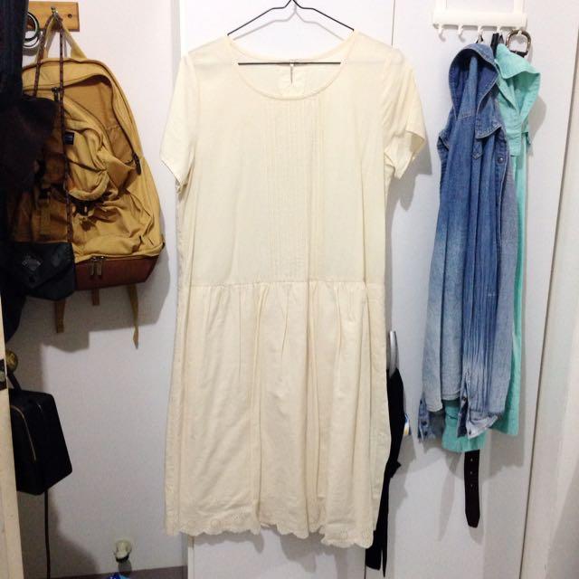 日系古著米白洋裝