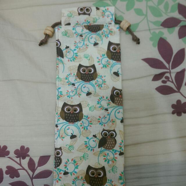 ⭐全新手工拼布-貓頭鷹環保筷組袋