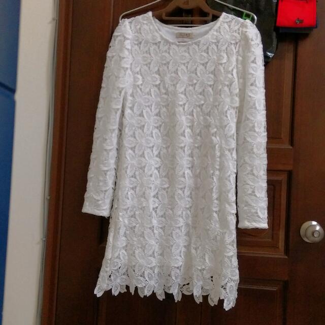【全新/含運】純白優雅蕾絲洋裝