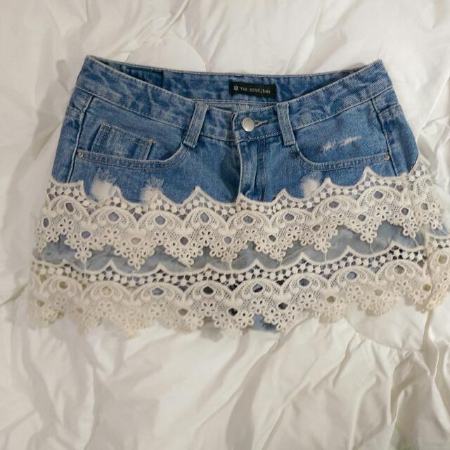 蕾絲牛仔褲