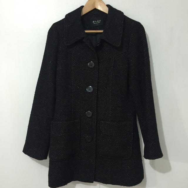 🈴二手金蔥黑長版外套
