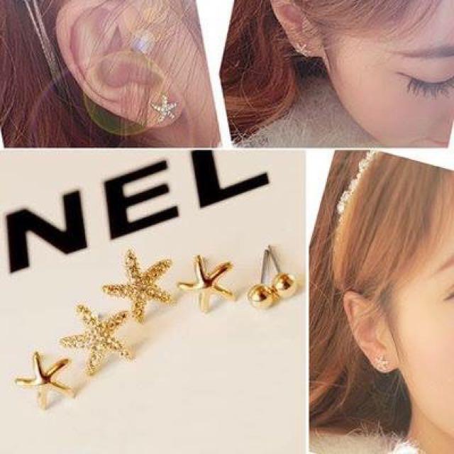 ❤️海星耳環三件組❤️