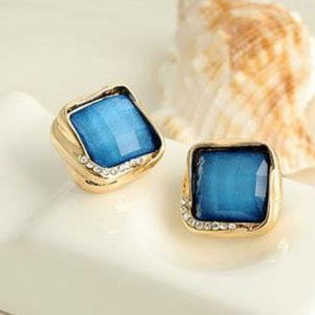 ❤️方形藍寶石耳環❤️