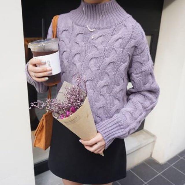 韓國訂單麻花高領毛衣-兩色