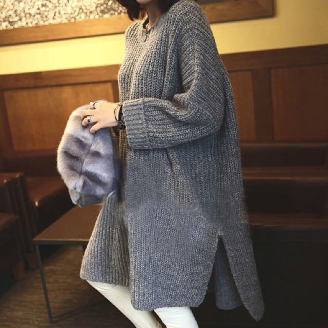 預 前短後長灰色毛衣(長板)