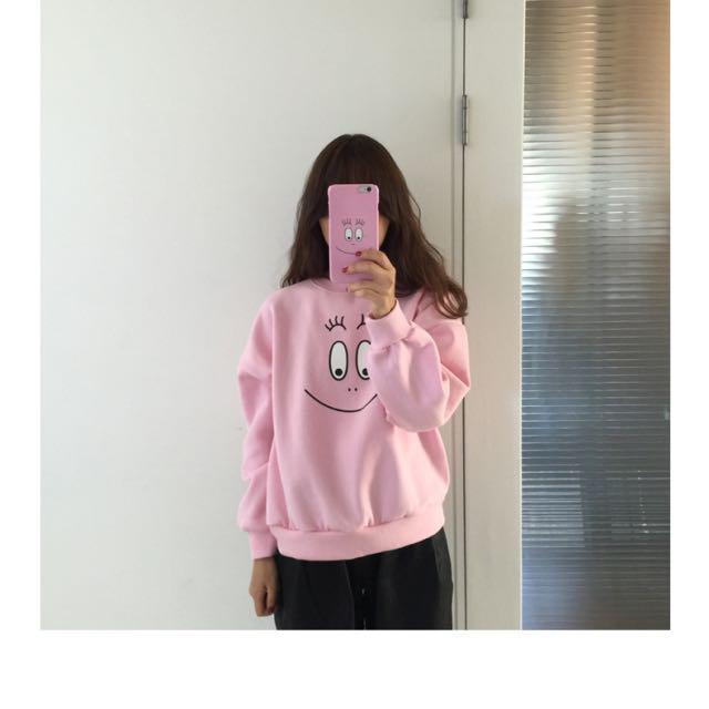 預 秋裝新款韓版甜美可愛賣萌笑臉加絨寬松長袖套頭衛衣女學生裝