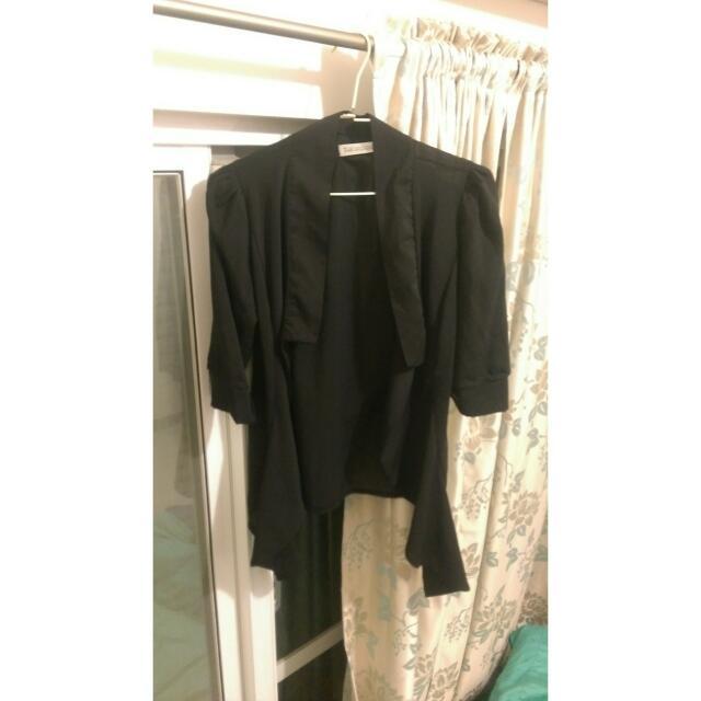 【含運】 雪紡修身黑西裝外套