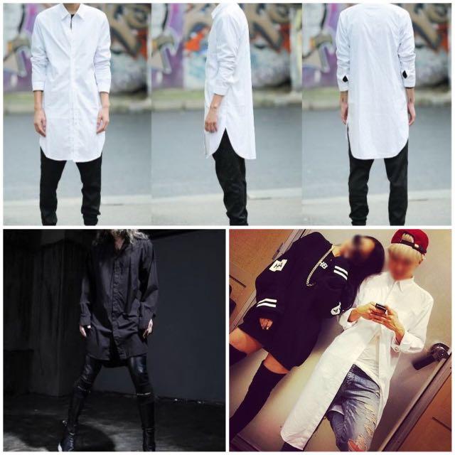 英倫風 ✔️韓國 長版排扣襯衫 ✔️