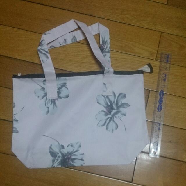 日雜 粉色花朵拉鍊托特包 手提袋 肩背包 購物袋