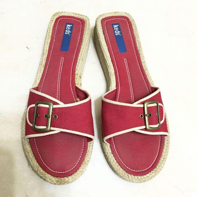 Keds紅色拖鞋