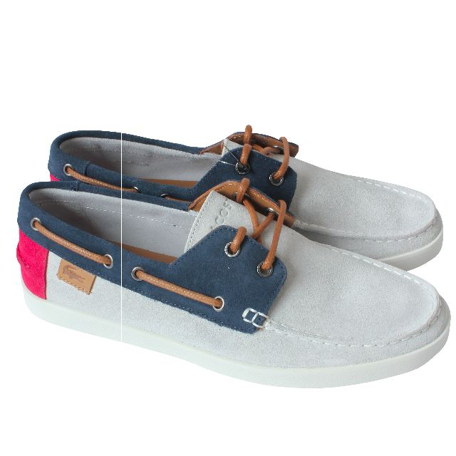 930198f9fad7 LACOSTE keellson 6 Light Grey Navy Suede Authentic Boat Shoes (NEW ...